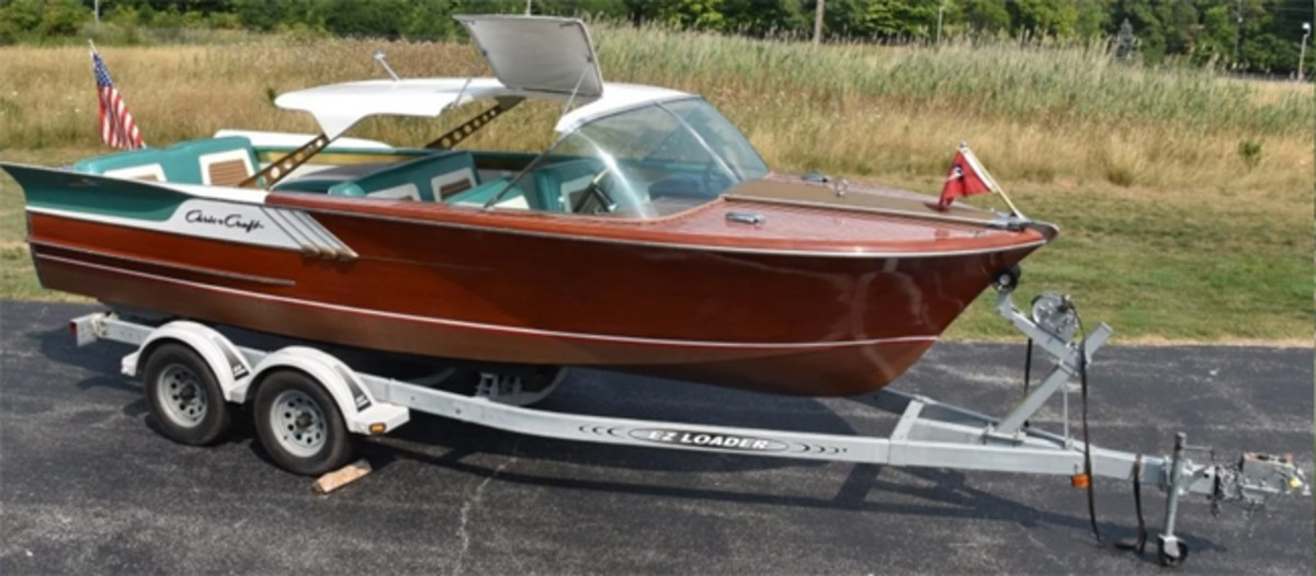 1961 Chris-Craft Continental wood boat with fins, 21ft long, one of only 96 made and only a dozen extant, loaded with options, complete with tandem-axle trailer.