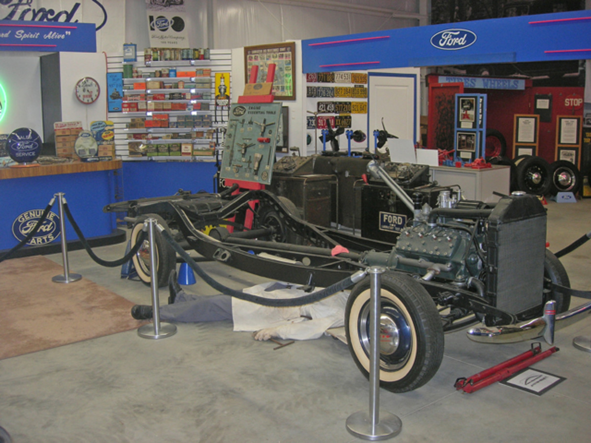 This recreated flathead Ford in a shop scene is part of the approximately 5,000 memorabilia items on display at the Early Ford V-8 Foundation & Museum in Auburn, Ind.