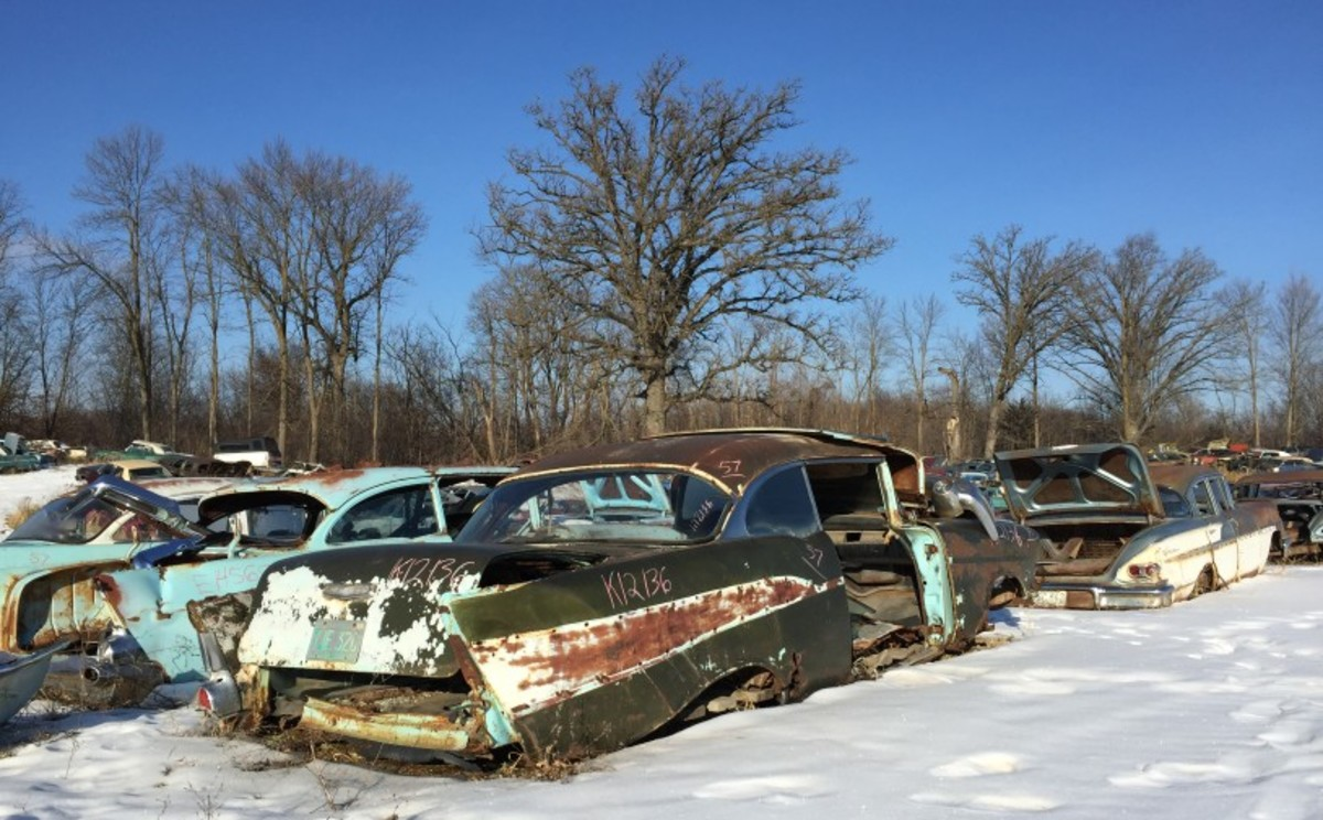 Another unusual salvage yard Chevy find, this 1957 Chevrolet Two-Ten Sport Coupe is pretty rusty and picked over, but there are several hardtop-only parts left on the former six-cylinder car.