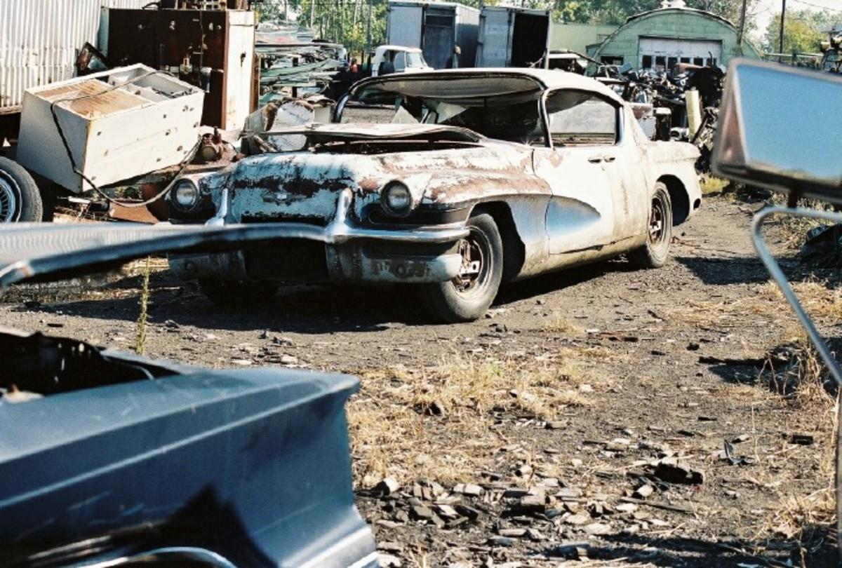The 1955 LaSalle II Motorama concept car at Warhoops salvage yard in 1988.