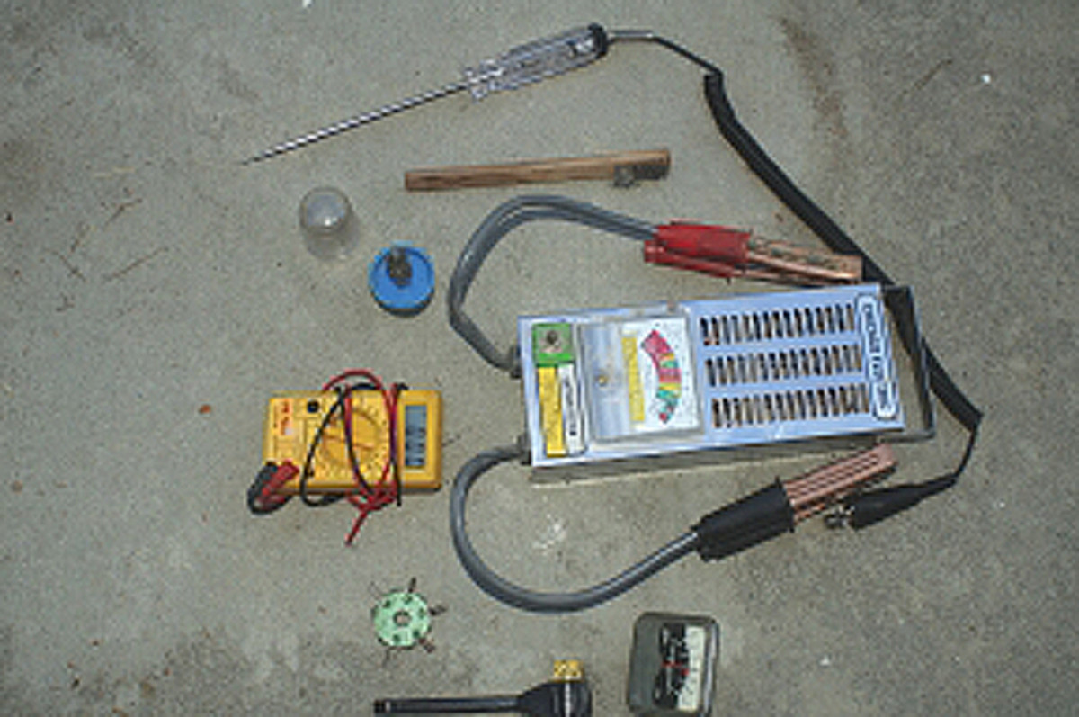 Some of the common tools used to maintain and check electrical systems.