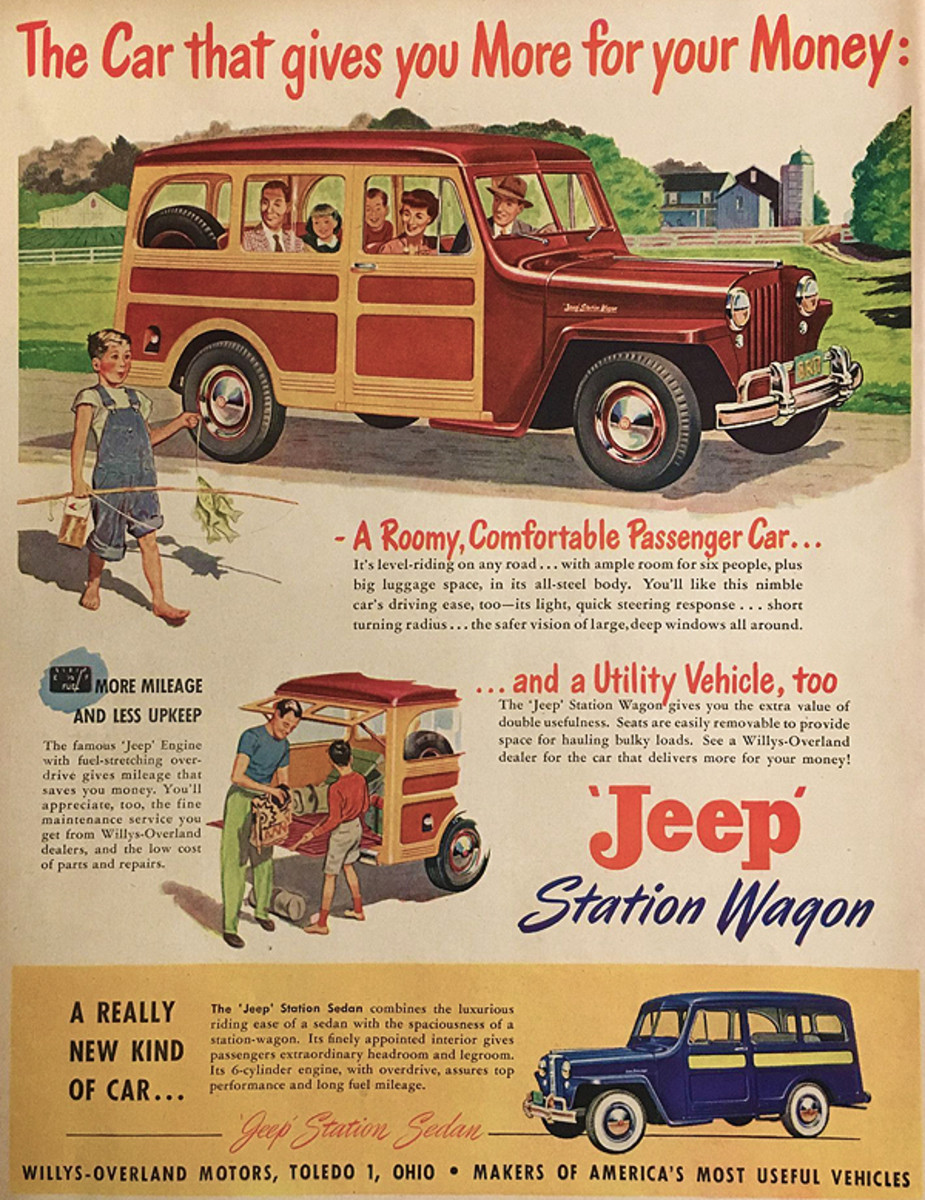 This Willys-Overland Motors' ad from 1949 touted the dual virtues of Jeep utility with the comfort of a car.
