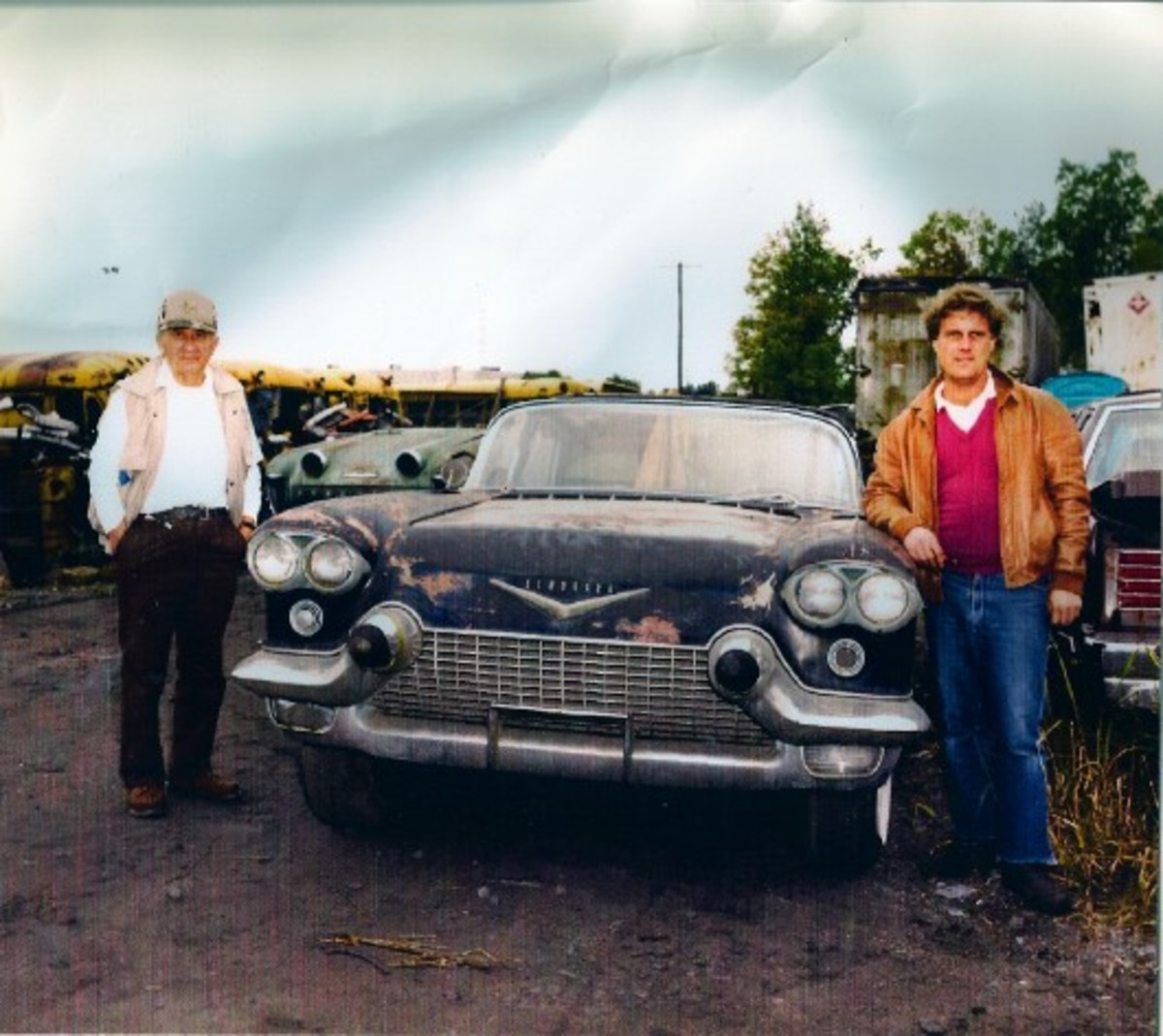 The 1956 Cadillac Eldorado Brougham Town Car concept at Warhoops with Harry Warholak Sr. (left) and Harry Warholak Jr. (right) in 1988.