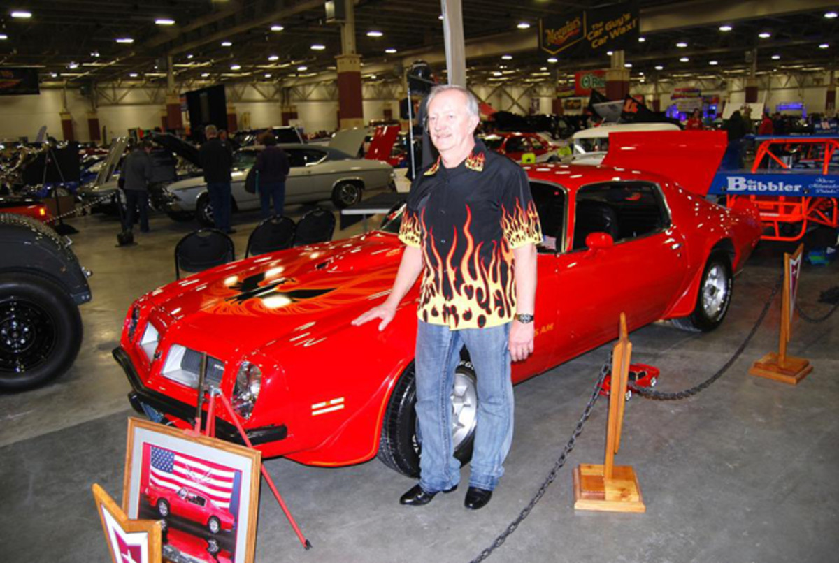 Red hot Perry Pegararo and his red hot '74 Trans Am.
