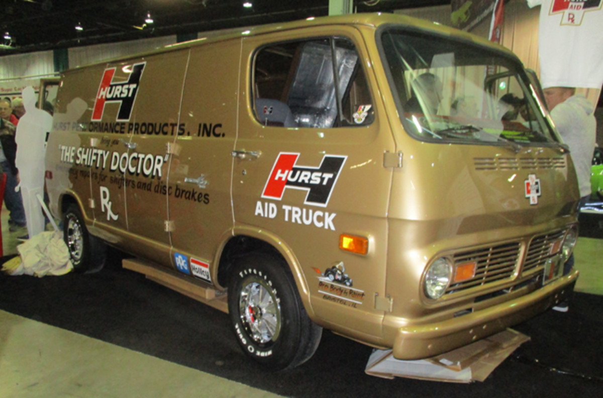 This van with Hurst Aid Truck graphics looks like the one that helped drag racers in the '60s.