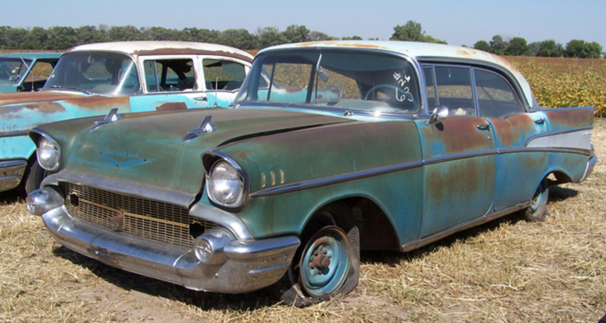 The man who originally traded this V-8 1957 Chevrolet Bel Air Sport Sedan (four-door hardtop) into Lambrecht Chevrolet Co. bought it back on Sept. 28, 2013, for $12,000 — certainly more than he received for it at trade-in.