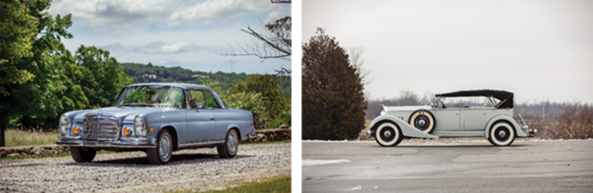 LEFT: 1971 Mercedes-Benz 280 SE 3.5 Coupe (Credit – Erik Fuller © Courtesy of RM Auctions)RIGHT: 1934 Packard Eight Dual-Cowl Sport Phaeton offered from The Schluter Collection (Teddy Pieper © Courtesy of RM Auctions)