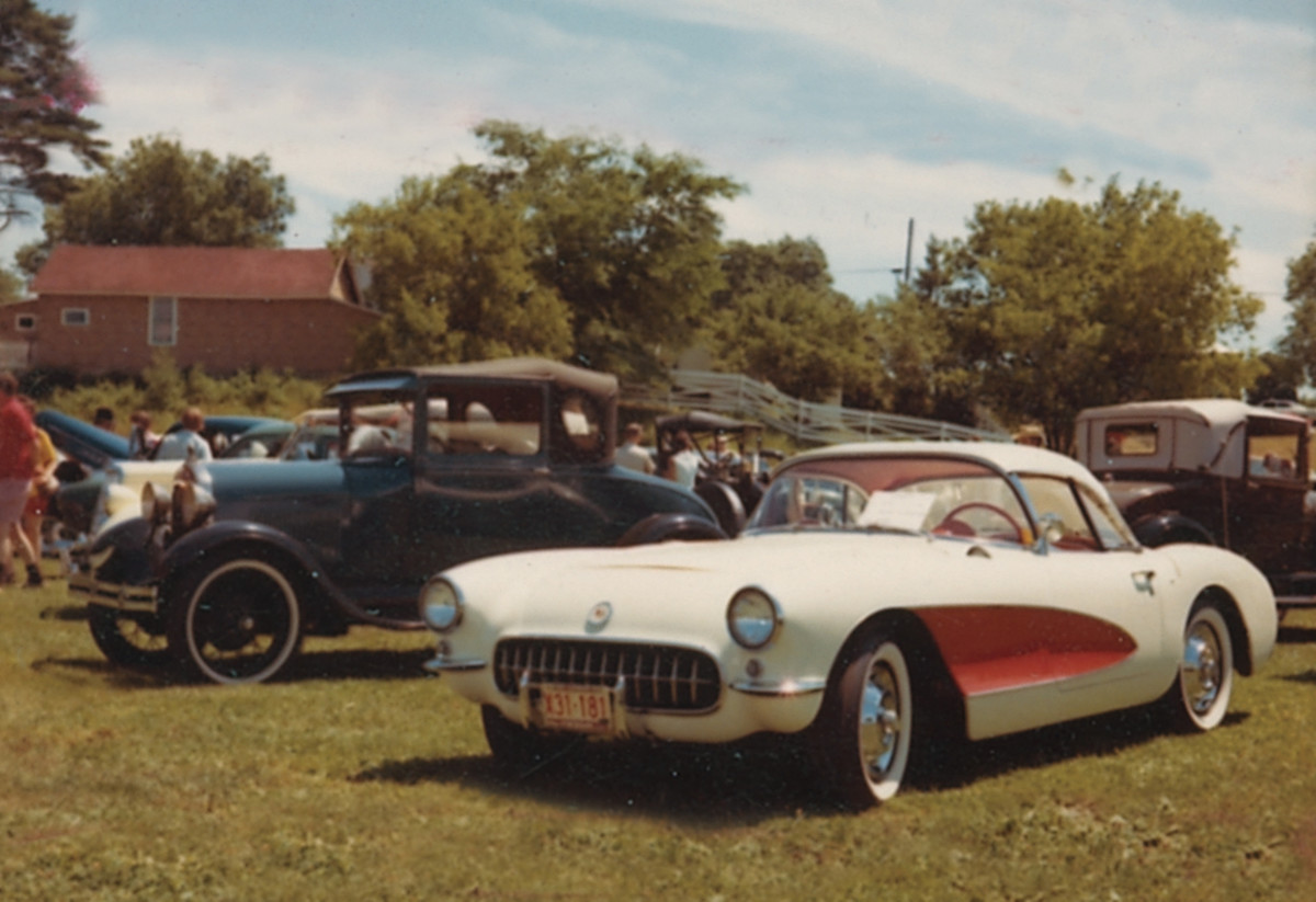 Iola has always had a little bit of everything for everybody. Here, a racy straight-axle 1956 or '57 Corvette shares the green with a few Model A's
