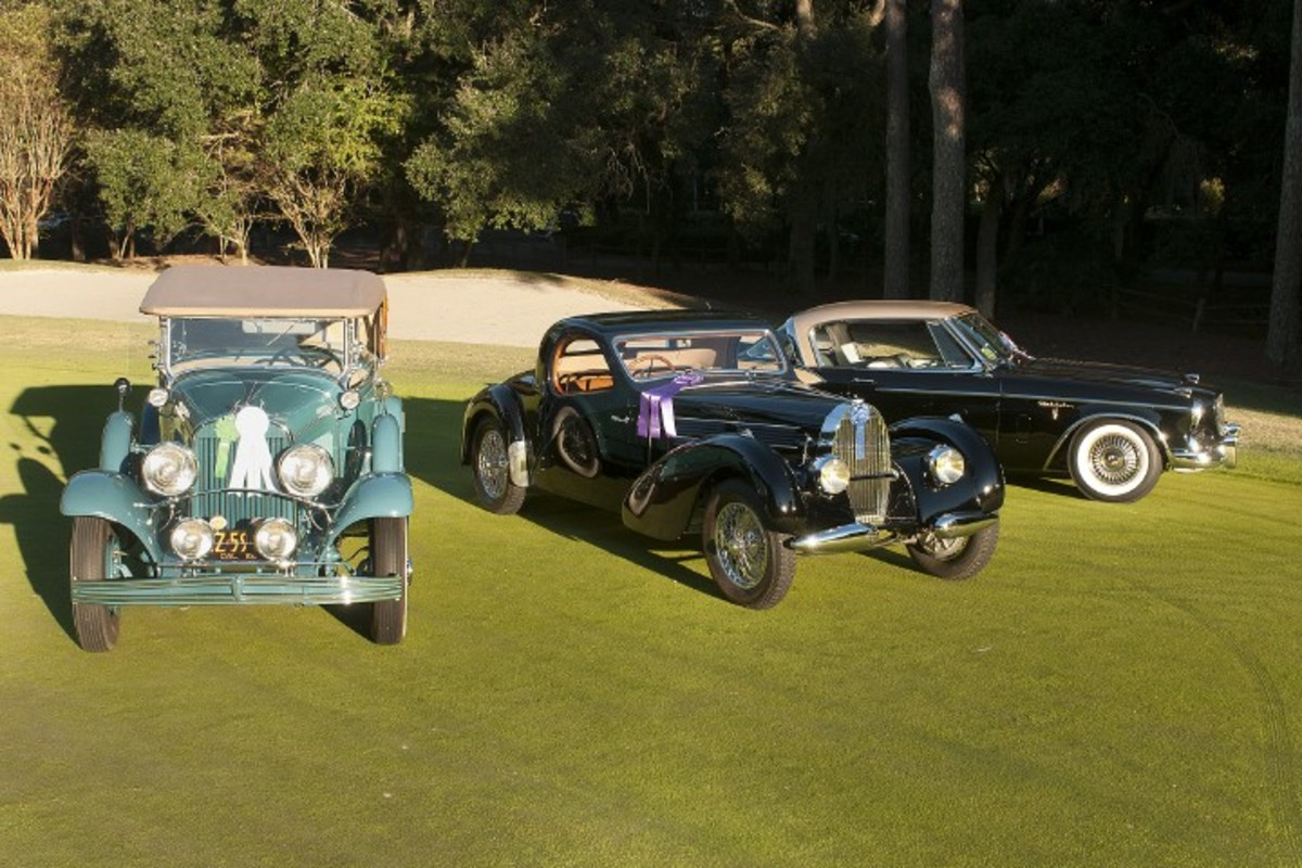 The 1958 Studebaker Golden Hawk, 1938 Bugatti Type 57C and 1929 Chrysler dual-cowl phaeton took high honors at this y ear's Hilton Head Island concours.