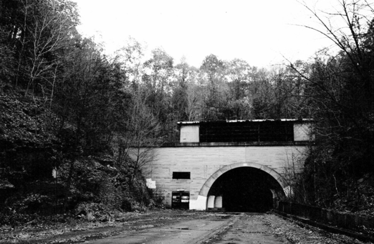 West portal of abandoned Sideling Hill tunnel, Pennsylvania Turnpike between Breezewood and Fort Littleton, PA.
