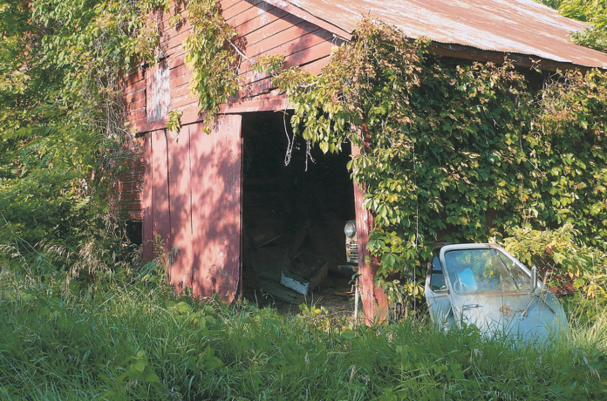 Had he not been led to this overgrown barn, Cleer had little hope of ever stumbling onto the Ford his uncle built. Note the postwar Chrysler lurking in the barn; it was parked in front of the Ford.