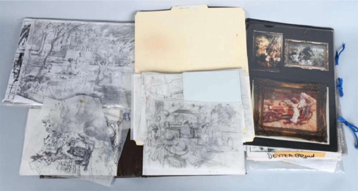 Archive of original sketches, concept art by automotive artist Dexter Brown. 100+ original pieces, most signed.