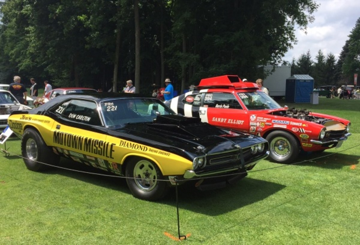 The drag car class at the Concours d'Elegance of America at the Inn at St. John's included several big names from the peak of the door-slammer era. This 1971 Challenger pro-stock was famously raced as the Motown Missile by Don Carlton and is now owned by Arnie Klann. In truth, this Challenger was one of many missiles in Carlton's all-MoPar stable. The 1971 Mercury Comet pitted nose-to-nose against the Motown Missile is one of the cars of famed racer Barrie Poole, who raced it with a 429CJ engine.