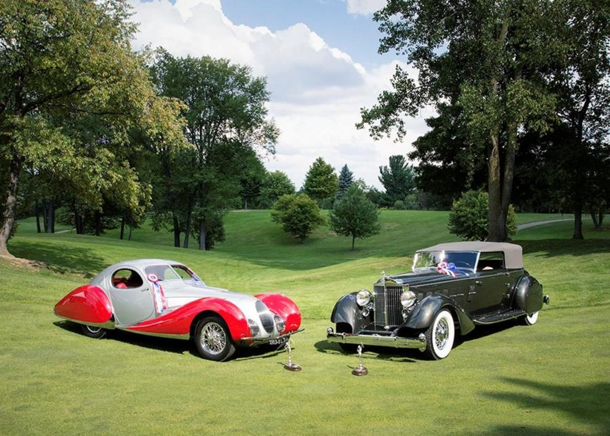 """Best of Show at the 2016 Concours d'Elegance of America at The Inn at St. John's in Plymouth, Mich., went to this duo, a 1934 Packard convertible victoria by Dietrich with one-off pontoon-type fenders and the 1937 Talbot-Lago 150 CSS with """"teardrop coupe"""" coachwork by Figoni et Falaschi."""