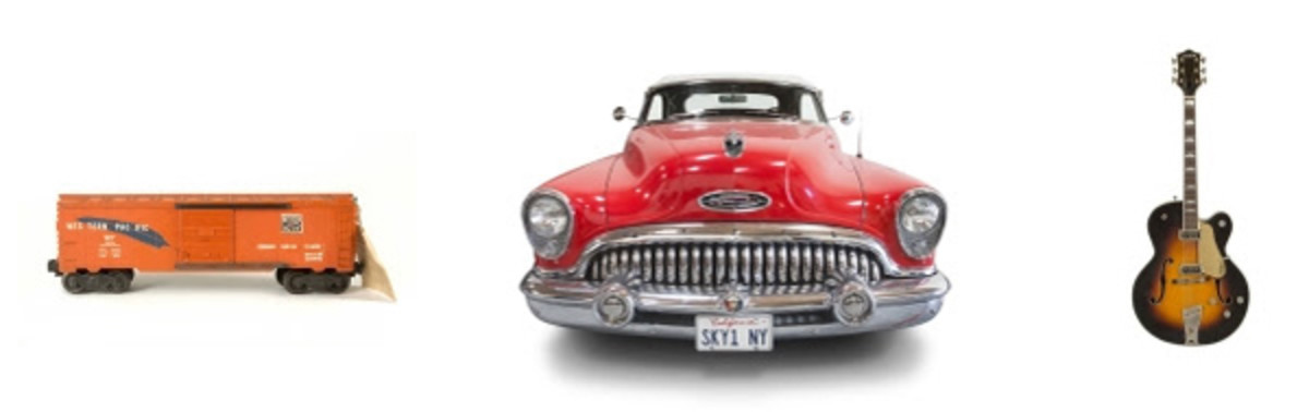 """photoleft to right: Young'sLionel Western Pacific """"1954"""" model train,1953 Buick Roadmaster code 76X Skylark Convertibleand1957 Gretsch Country Club6182 guitar"""