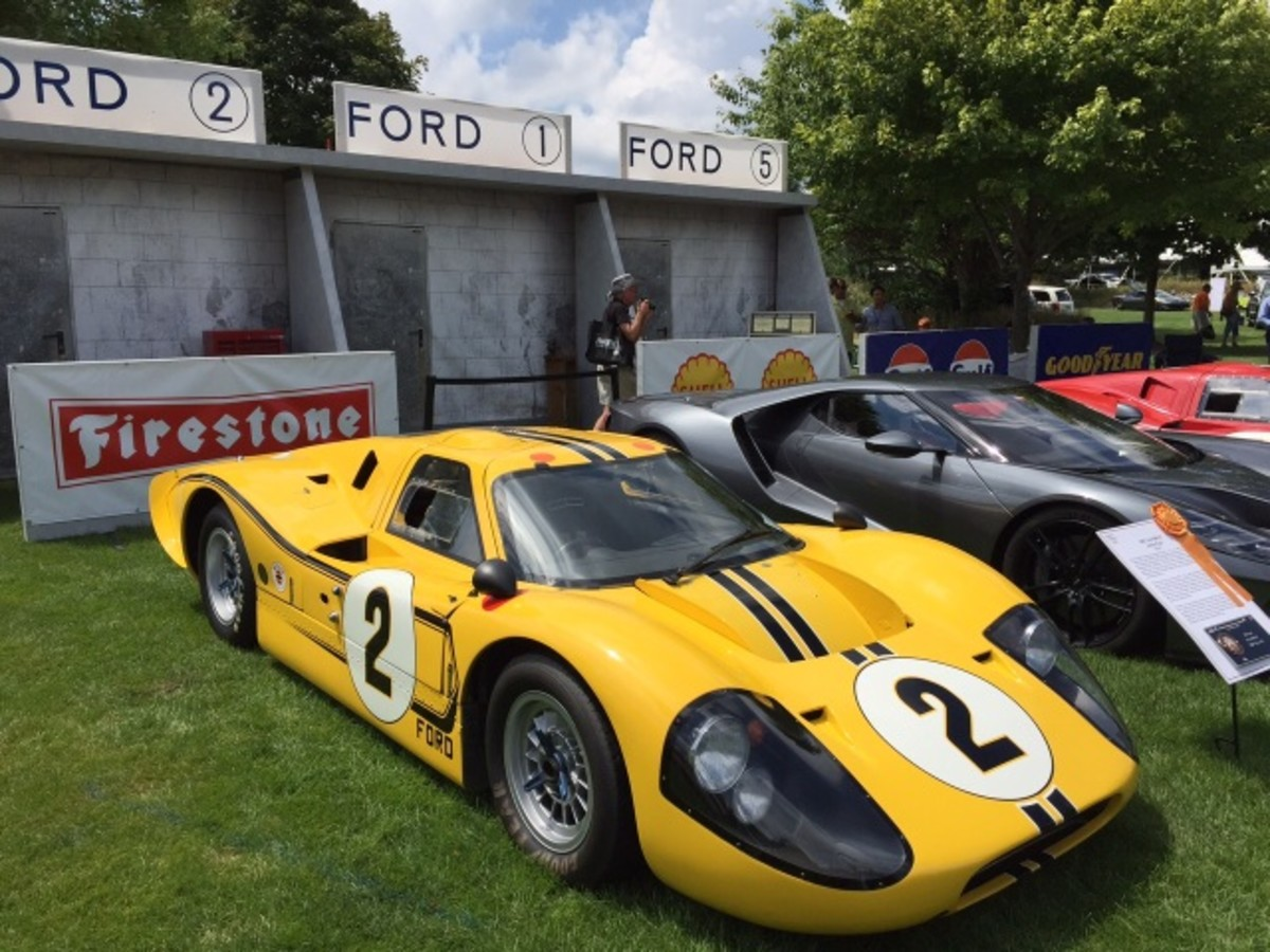 In celebration of the 1-2-3 finish of Ford GT-40s at Le Mans, the concours set up this incredible display.