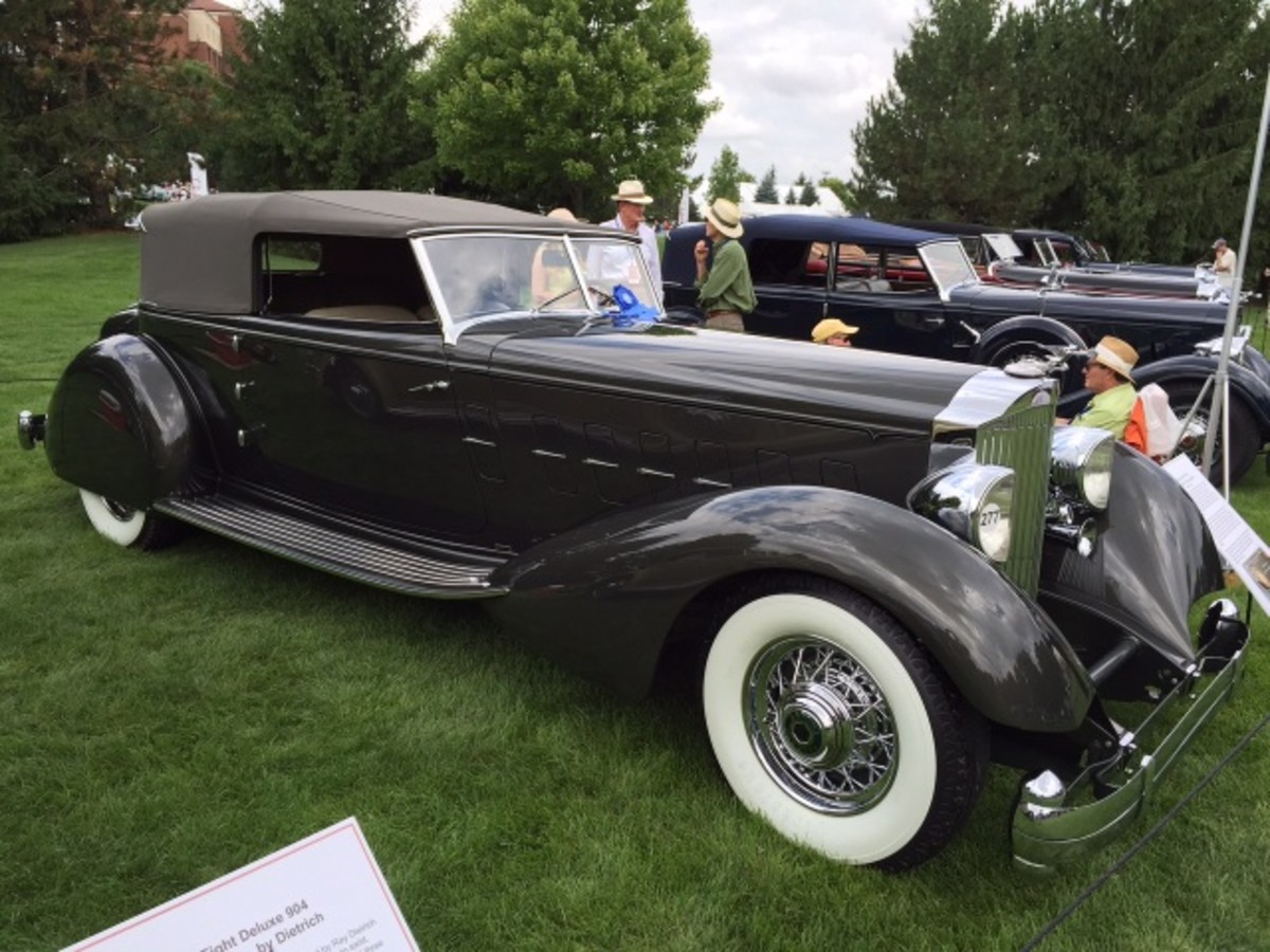 The domestic Best of Show winner was this 1934 Packard with convertible victoria coachwork by Dietrich. It was displayed in a class of Dietrich-bodied Packard and Lincoln automobiles.