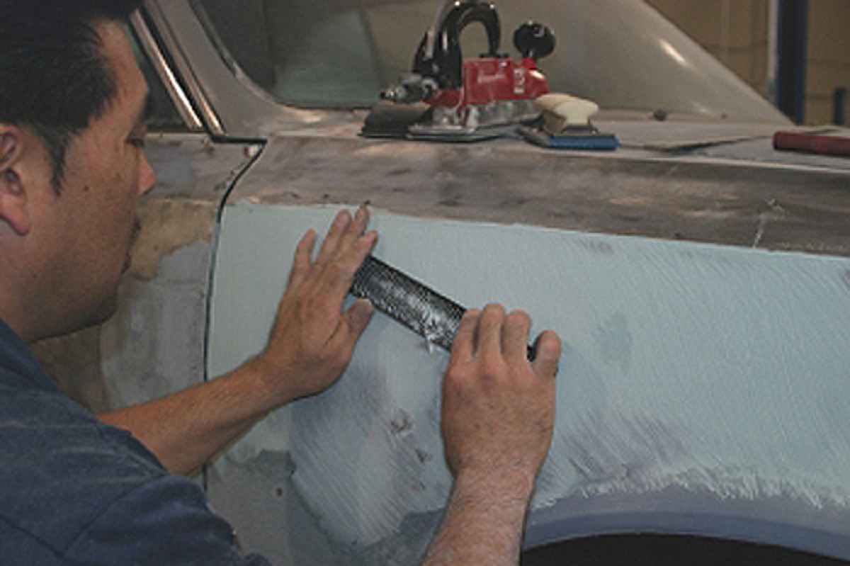 The sure-form makes quick work of the excess filler on this fender, but you will need to rasp it at just the right time. If you wait too long the filler will be too hard and will have to be sanded. If you rasp it too soon, you will probably need a new rasp.