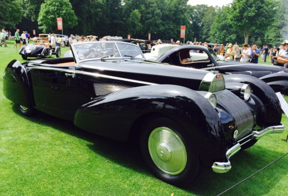 Jim Patterson was recognized by the concours this year as the collector of the year and as such, several of his elegant Art Deco cars were displayed, including the 1939 Bugatti Type 57A Aravis with coachwork by Voll and Buhrbeck. The car is unique, from the body design to the waterfall radiator grille that deviates from the typical Type 57 grille. When new, it was used by famous Olympic skater Sonja Heine.