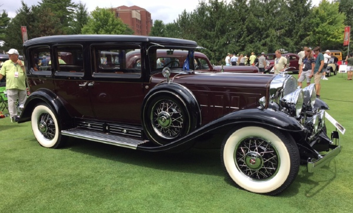 """A stately 1931 Cadillac 452A Fleetwood Imperial, the """"Imperial"""" indicating this sedan has a division window so it can be chauffeur driven."""