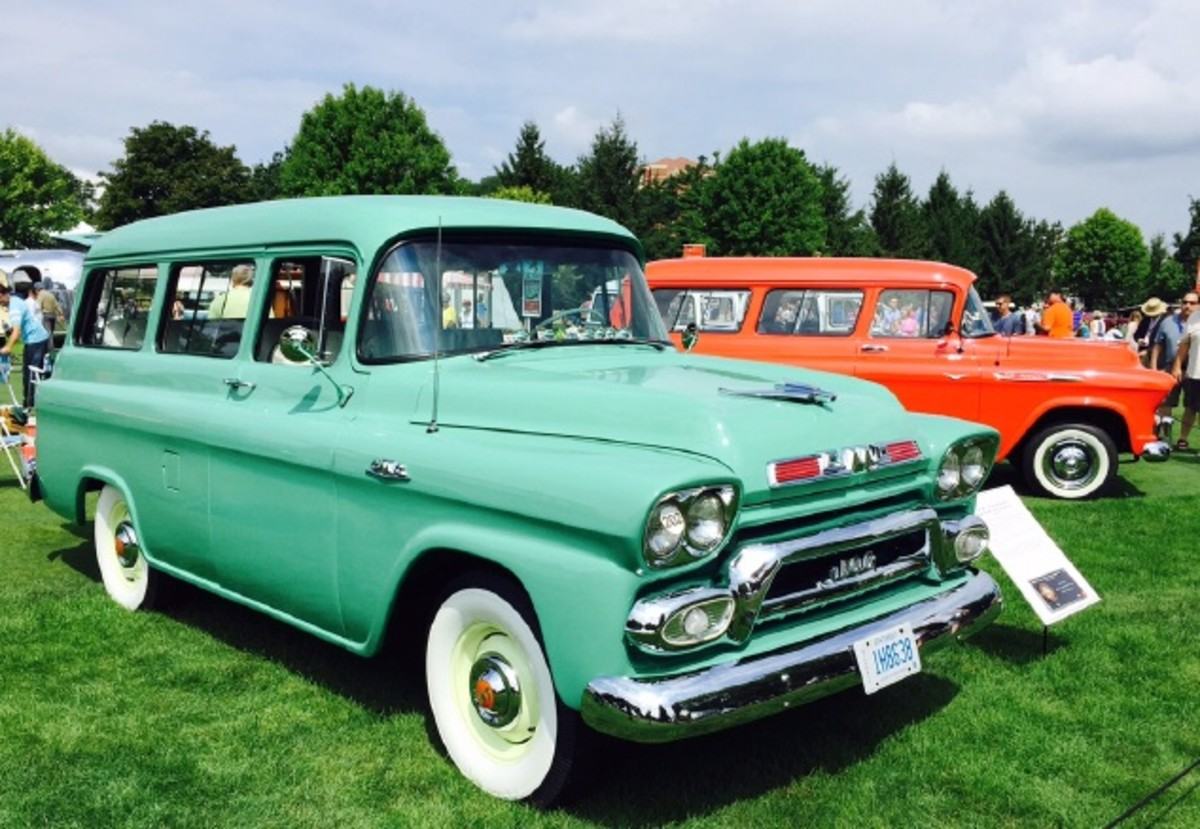 A beautiful 1959 GMC 100 Carryall Suburban wagon owned by John A. Lostracco. I is powered by a 270-cid six-cylinder. Note the accessory hood ornament, which is similar to the 1955 Olds unit.