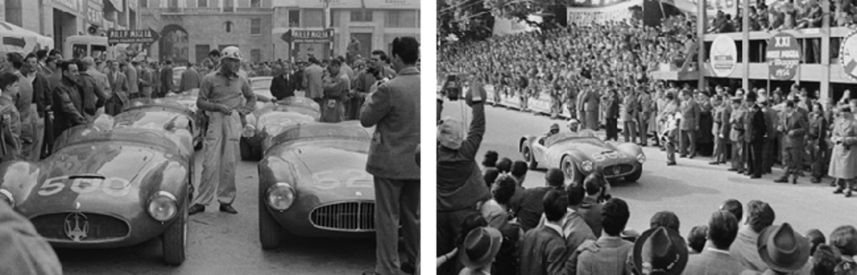 LEFT: Luigi Musso with chassis number 2078 prior to the start of the 1954 Mille Miglia (Credit – Courtesy of The Revs Institute for Automotive Research) RIGHT: Luigi Musso behind the wheel of the A6GCS at the 1954 Mille Miglia, where he finished 2nd in class and 3rd overall (Credit – Courtesy of The Revs Institute for Automotive Research)