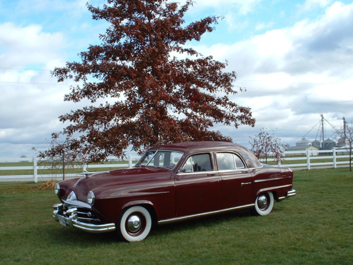 The Huckers are equal-opportunity Kaiser-Frazer fans. They bought this fully restored '51 Frazer a few years back and regularly take it to summer shows.