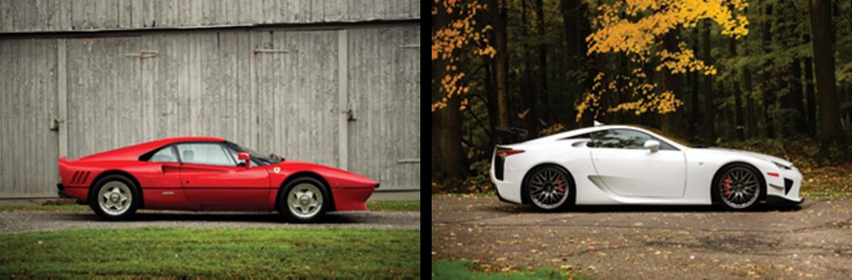 LEFT: 1985 Ferrari 288 GTO set for RM Sotheby's 2019 Arizona auction (Drew Shipley © 2018 Courtesy of RM Sotheby's) RIGHT: 2012 Lexus LFA set for RM Sotheby's 2019 Arizona auction (Drew Shipley © 2018 Courtesy of RM Sotheby's)
