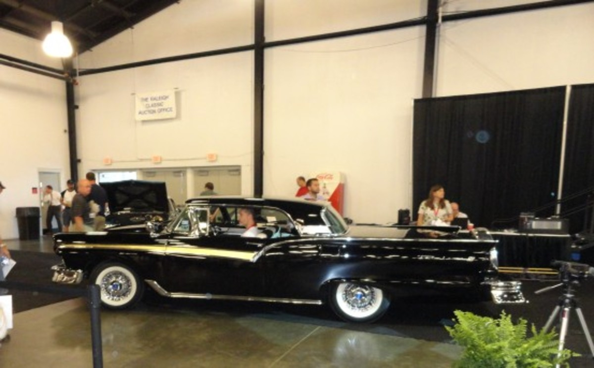 Chevrolets and Fords from 1957 sold strong at the Raleigh Classic, held June 22-23. This dual-quad-packing 1957 Ford Retractable sold for $67,000.