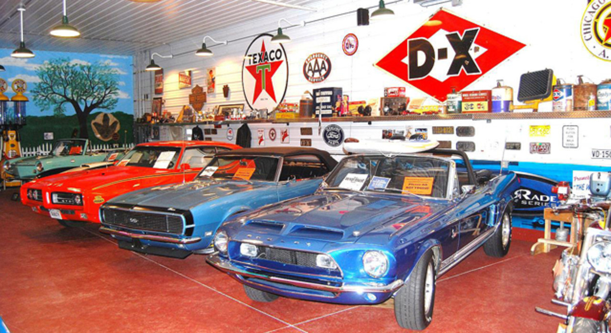 There are plenty of muscle cars and antique cars on Doc Hopkin's free museum in his Harley-Davidson dealership not far from Old Cars Weekly HQ's.