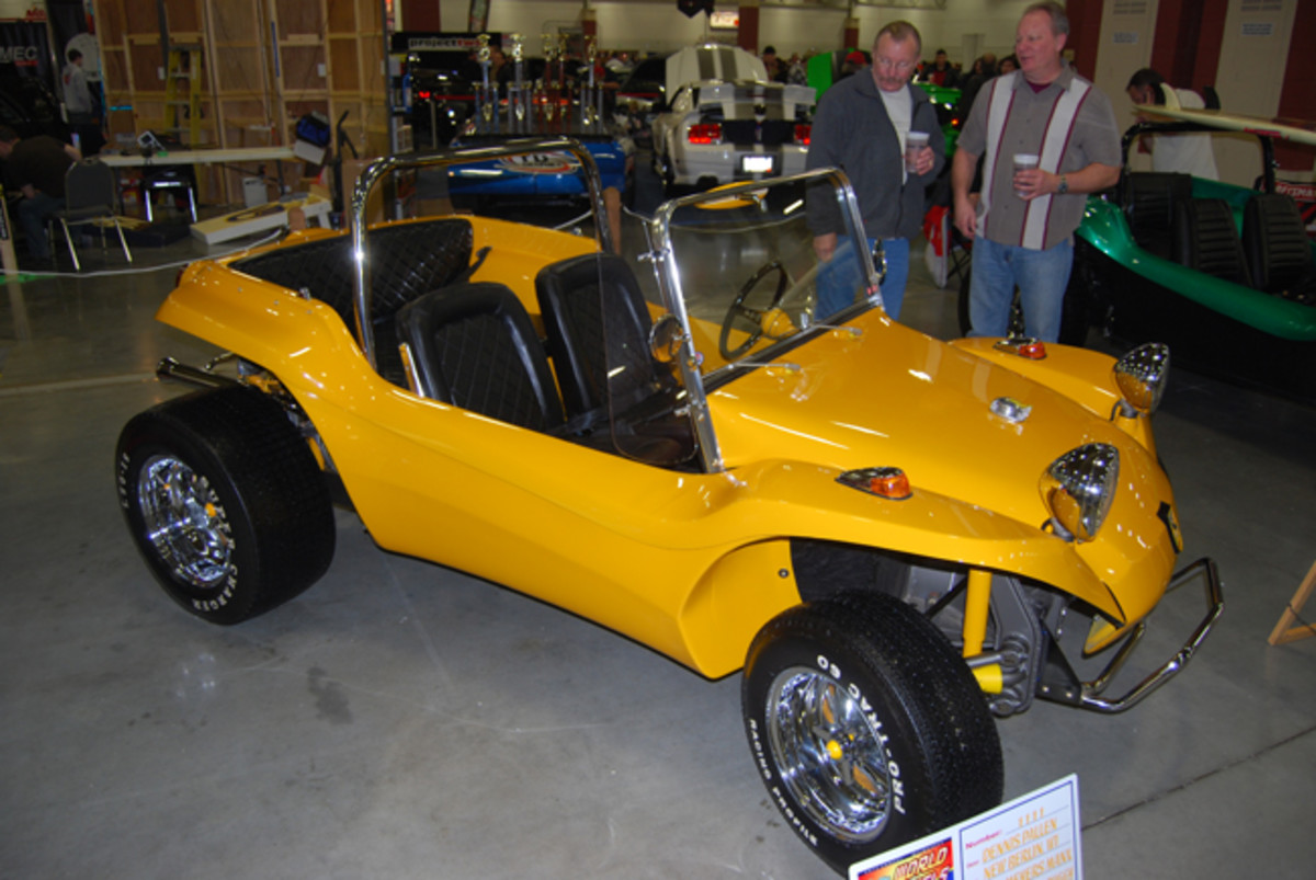 Dennis Pallen of New Berlin, Wis., owns the yellow Meyers Manx.