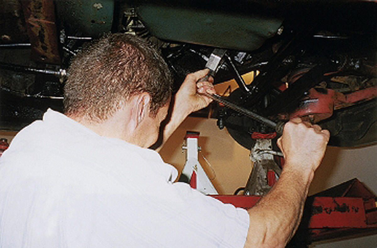 Vince Sauberlich had to drop the pitman arm on the steering gear to route the front brake line into its proper position. The line was too long to flip and swing into position with the pitman arm in the way.