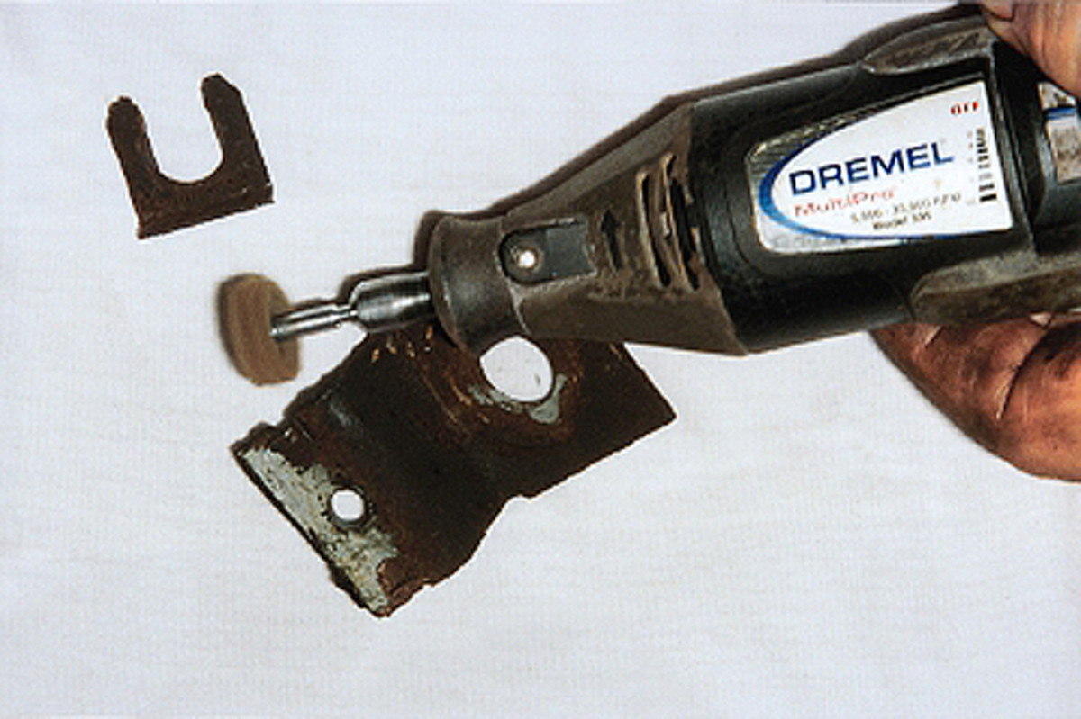 A Dremel tool can be used to clean up brackets and U-shaped clips used to hold brake lines and hoses in position. If they are too rusty, order new clips from an auto parts store or specialty supplier.