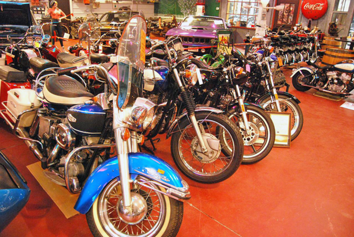"""Although it is billed as a """"muscle car museum,"""" the collection also includes vintage motorcycles and all sorts of car and bike memorabilia."""