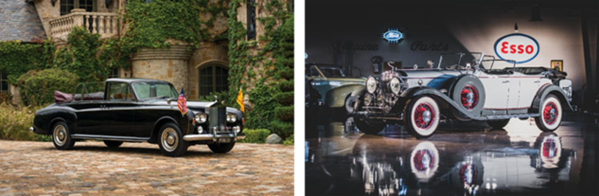 LEFT: 1967 Rolls-Royce Phantom V State Landaulet by Mulliner Park Ward offered from the Calumet Collection and set for RM Sotheby's 2019 Arizona auction (Robin Adams © 2018 Courtesy of RM Sotheby's) RIGHT: 1930 Cadillac V-16 Sport Phaeton offered from the Richard L. Burdick Collection and set for RM Sotheby's 2019 Arizona auction (Darin Schnabel © 2018 Courtesy of RM Sotheby's)