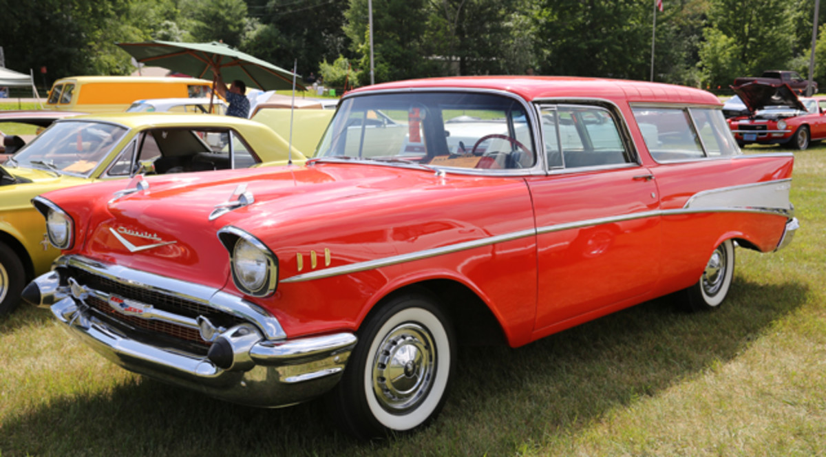 When more than a couple thousand collector cars gather, there's usually at least one Nomad in the bunch — if you're lucky. Charles Lang's Matador Red '57 is a beaute and is as clean and tasteful as they come with standard Bel Air wheel covers and without the rocker trim added to so many 1957 Chevrolets.