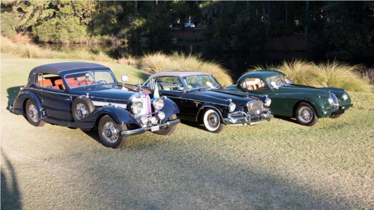 L to R:  Best of Show 1938 Mercedes-Benz 540K Cabriolet, Best Production/Performance vehicle 1958 Studebaker Golden Hawk, Best Road & Track vehicle 1953 Jaguar XK120 SE. Photo - Hilton Head Concours d'Elegance