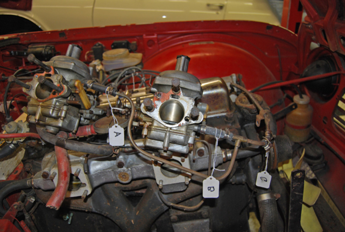 Triumph TR250 carburetor hoses tagged A, B and C can easily be put back in proper order