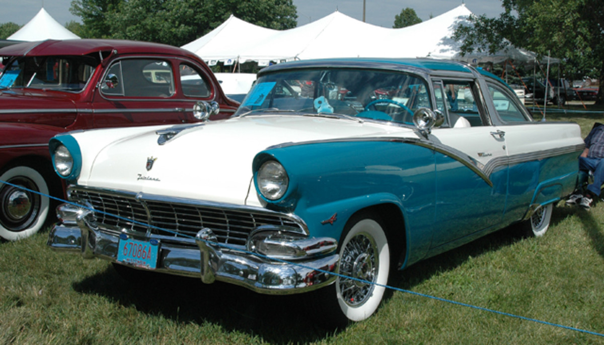 Roger Daniels' decked-out 1956 Ford Crown Victoria hails from the rarer of two years of production; just 9,209 were built in 1956 compared to 33,165 in 1955. The '50s accessories start with a continental kit, fender skirts, dual spotlights and a rear antenna.