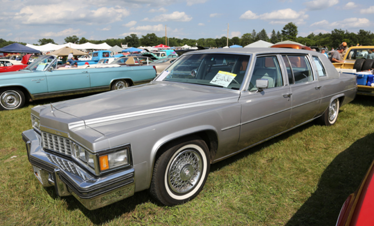 This looong Cadillac came a looong way to enter the Iola Old Car Show car corral, but the trip was worth it. The 16,000-mile 1977 Fleetwood limousine was offered at best offer, and someone offered enough greenbacks to pry it from the owner's hands.