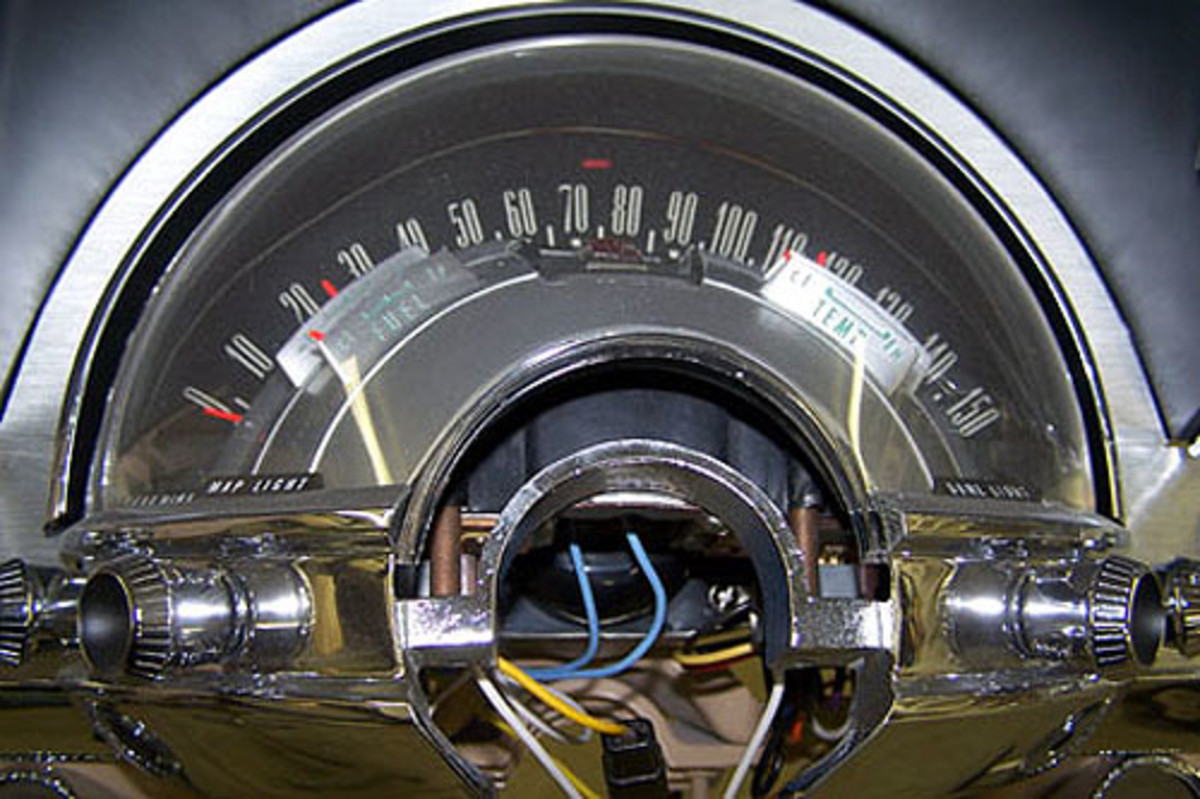 This instrument cluster, an electro-luminscent unit found on early-1960s Chryslers, was rebuilt to ensure proper function once the car is restored. The rebuilder, J.C. Auto Restoration, offers several tips to first turning it on to prevent damaging the lighting components the first time it is lit. Getting installation and running tips from any parts rebuilder is always recommended to prevent unnecessary damage and related expenses.