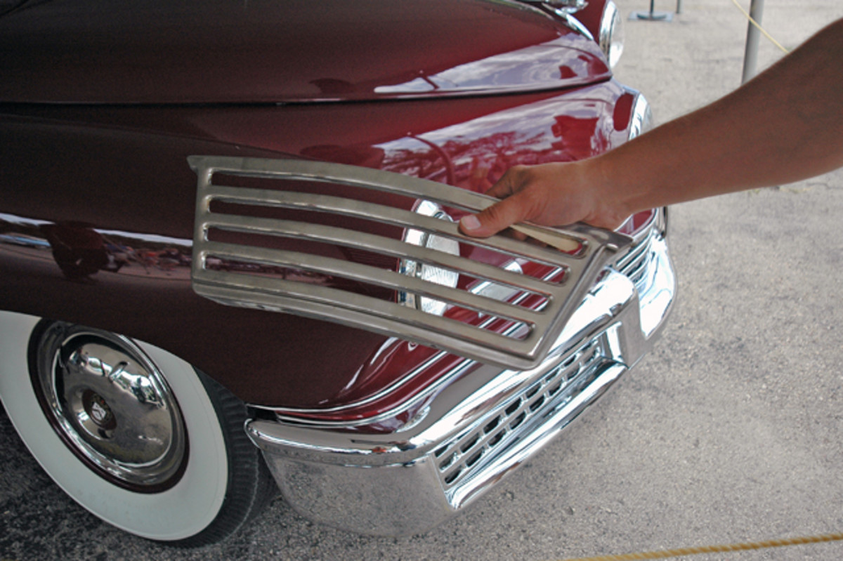 There are millions of parts for sale in Iola's swap meet. The owner of a Tucker (not the pictured Tucker) found this new front bumper piece in the Iola Old Car Show swap meet; it cost several hundred dollars.