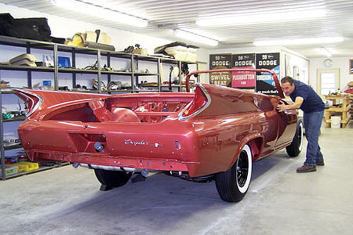 After this 1960 Chrysler's body was placed on the restored chassis, restorer JerryKopecky began working on the wiring well before any other components were re-installed.