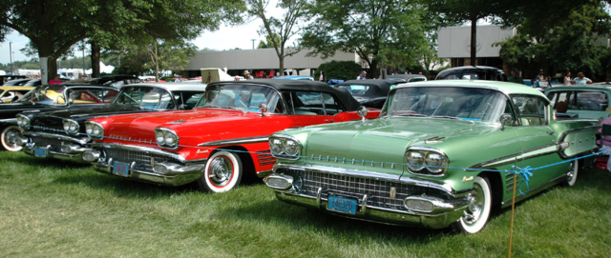There were seven 1958 Pontiac Bonnevilles pre-registered for the 2014 Iola Old Car Show Blue Ribbon Concours, and these three found a spot next to one another.