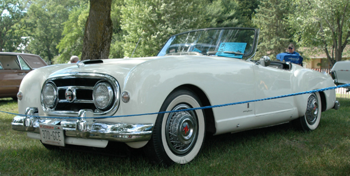 Jim Rugowski's 1953 Nash-Healey roadster always draws a crowd. With all of its international ties (English body and chassis with Italian styling and an American powerplant), the car was at home in Wisconsin, where Nash was headquartered.