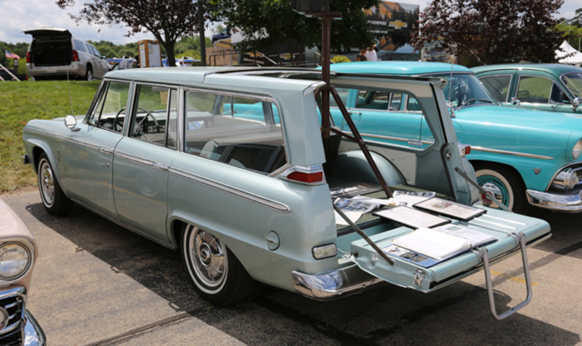The Studebaker Drivers Club was also on hand at Iola with its own display. Trevor Yoho's 1965 Studebaker Wagonaire did double duty in the Theme Area where it was shown with its sliding rear roof opened. Note the tailgate ladder that eased access to the rear, especially for little ones.