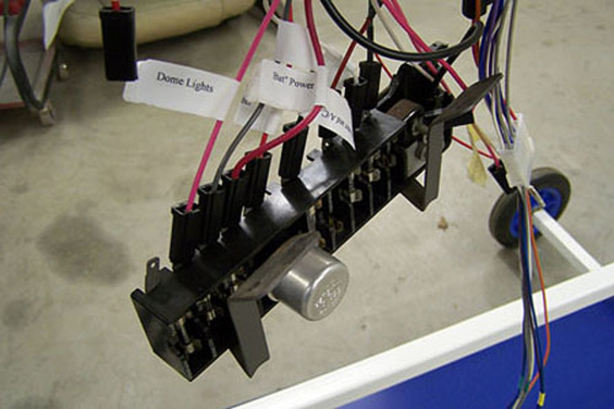 Use the new connectors and fuses, which are usually included with a new wiringharness. Also note that the wires are labeled from this wiring harness' producer.