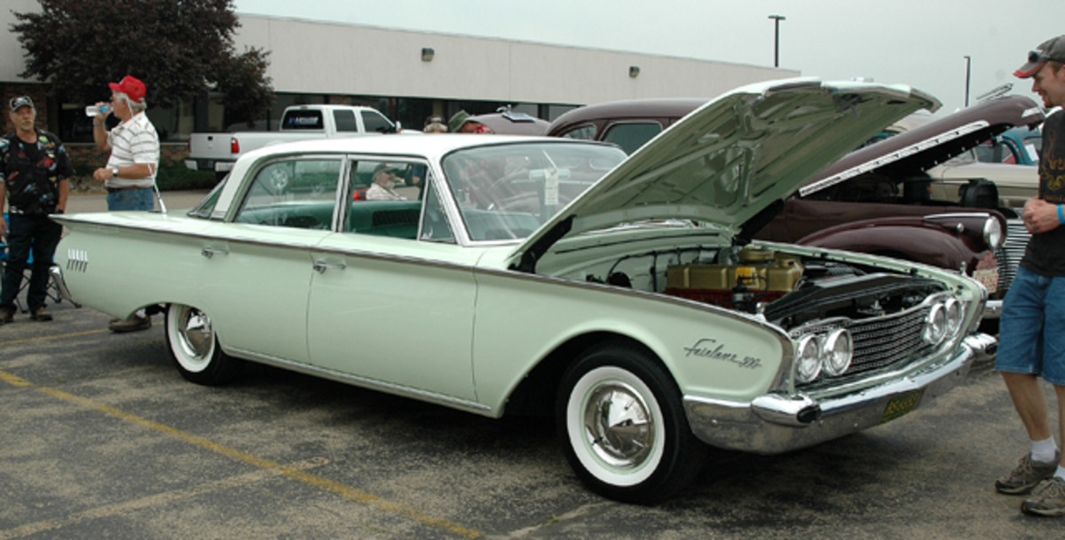 """Paul Garlick's six-cylinder 1960 Ford Fairlaine sedan restoration was absolutely stunning; the car wore all the under-hood stickers and assembly marks rarely found on racier Starliner and Sunliner restorations. The car was parked in the """"Four for All in '14"""" theme area."""