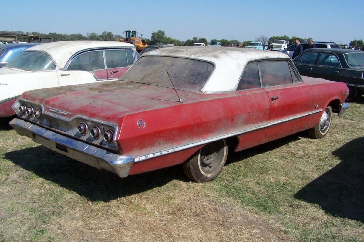 A rear view of the 1963 Impala the day before the VanDerBrink Auctions sale of the Lambrecht Collection.