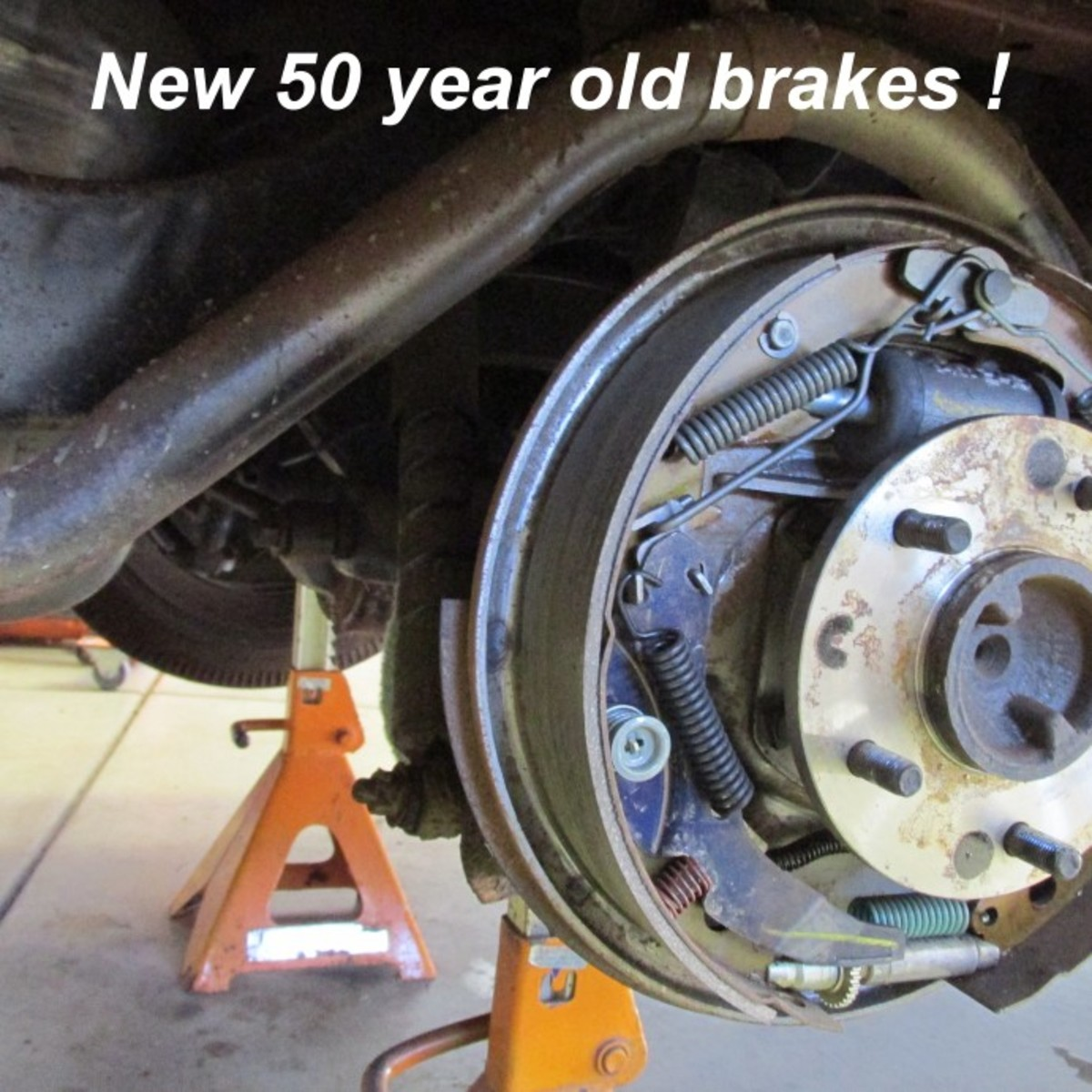 Here's what original brake shoes and hardware looks like on a 1963 Chevrolet Impala.